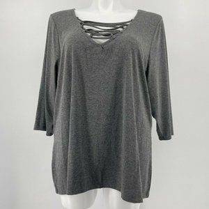 Torrid Top Deep V Lace Up Tee Solid Gray Knit